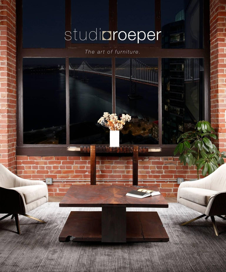 Contemporary Shadow Coffee Table in Smoked Walnut and Blackened Steel by Studio Roeper  For Sale