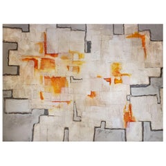 """""""Shadow Fires"""", Abstract Mixed-Media Painting, Orange, White, Grey"""