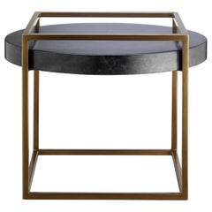 Shadow Side Table, Low Side Table with Parchment Top and Liquid Metal Frame