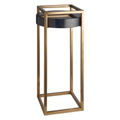 Shadow Side Table, Tall Slim Table with Parchment Top and Liquid Metal Frame