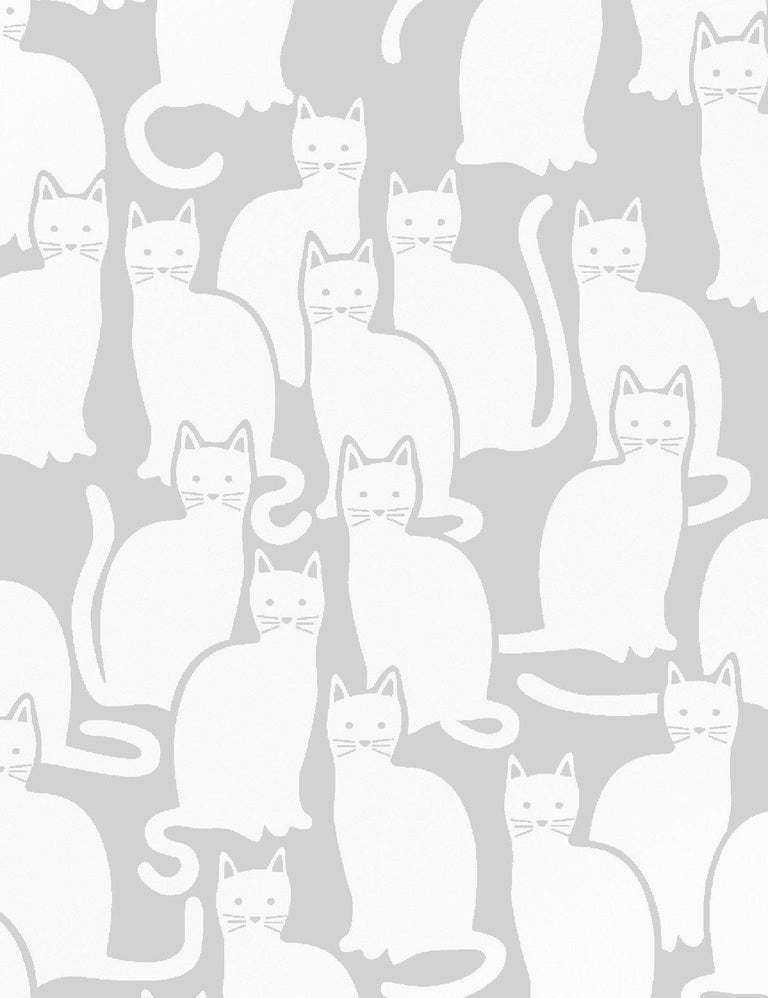 Modern Shadowcat Designer Wallpaper in Heather 'Grey and White' For Sale