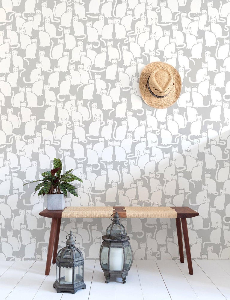 American Shadowcat Designer Wallpaper in Heather 'Grey and White' For Sale