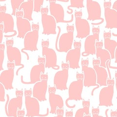 Shadowcat Screen Printed Wallpaper in Color Peach 'Peachy Pink on Soft White'