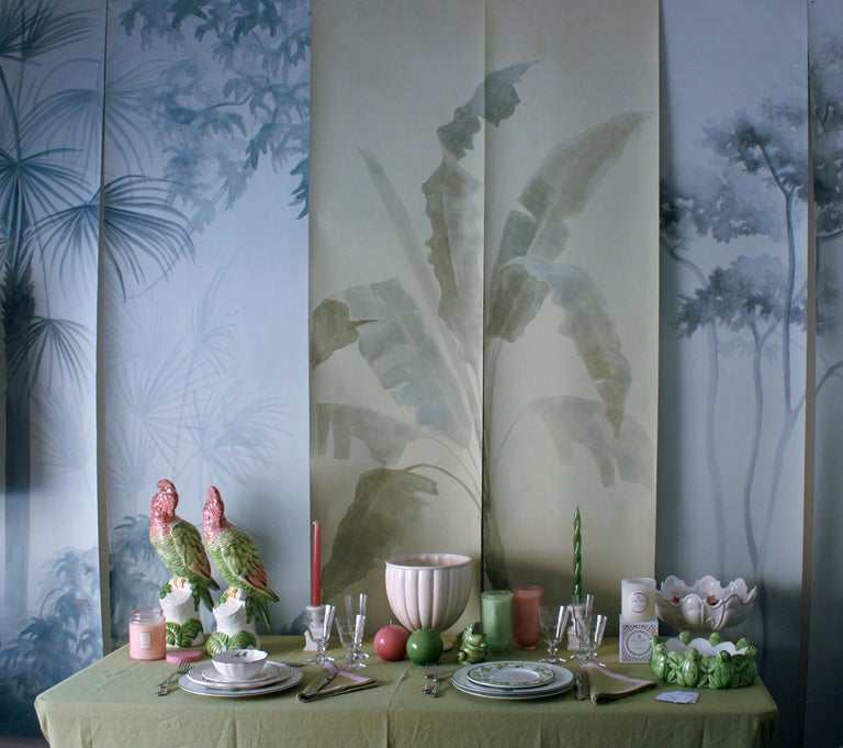 Hand-Painted Shadows, Hand Painted Wallpaper For Sale
