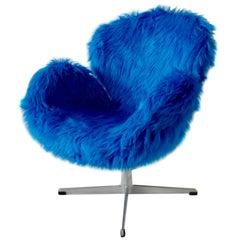 Shagadelic Cookie Monster Arne Jacobsen for Fritz Hansen Swivel Swan Chair