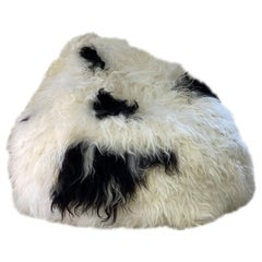 Shaggy Bean Bag Chair Cover, Icelandic Sheepskin Black Spot