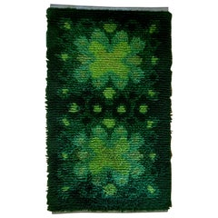 Shaggy Green Midcentury Scandinavian Rya Matta Rug or Wall Hanging