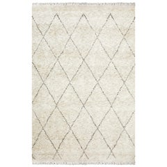 Shaggy Moroccan, Bohemian Shaggy Moroccan Hand Knotted Area Rug, Linen
