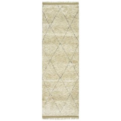 Shaggy Moroccan, Bohemian Shaggy Moroccan Hand Knotted Runner, Linen