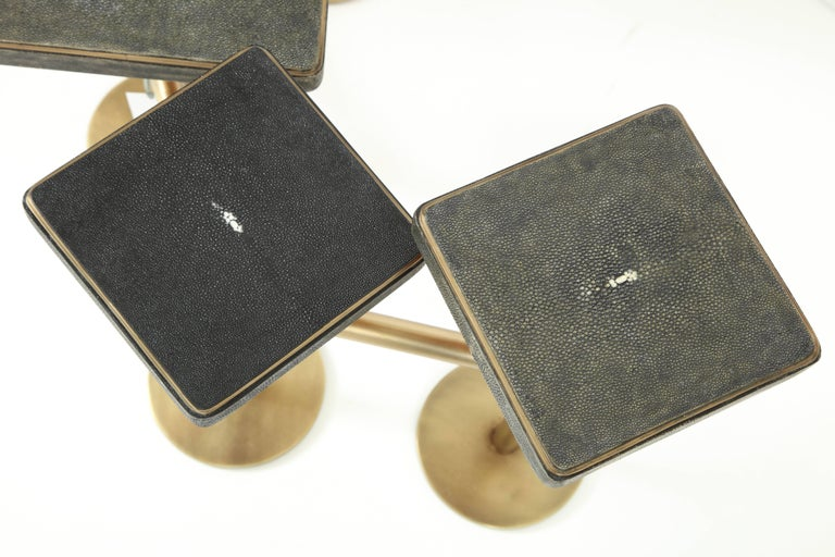 Shagreen and Bronze Coffee Table Offered by Area ID For Sale 3