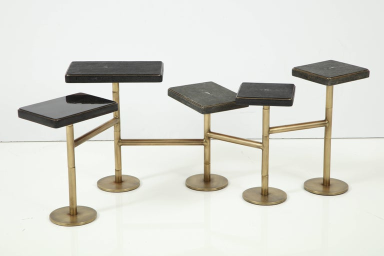 Modern Shagreen and Bronze Coffee Table Offered by Area ID For Sale