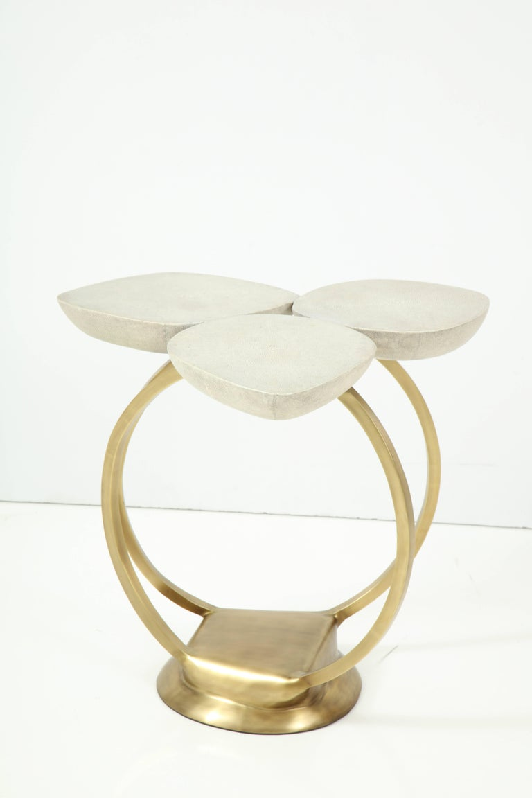 Shagreen Side Table with Brass Base, Cream, Floral Design For Sale 3