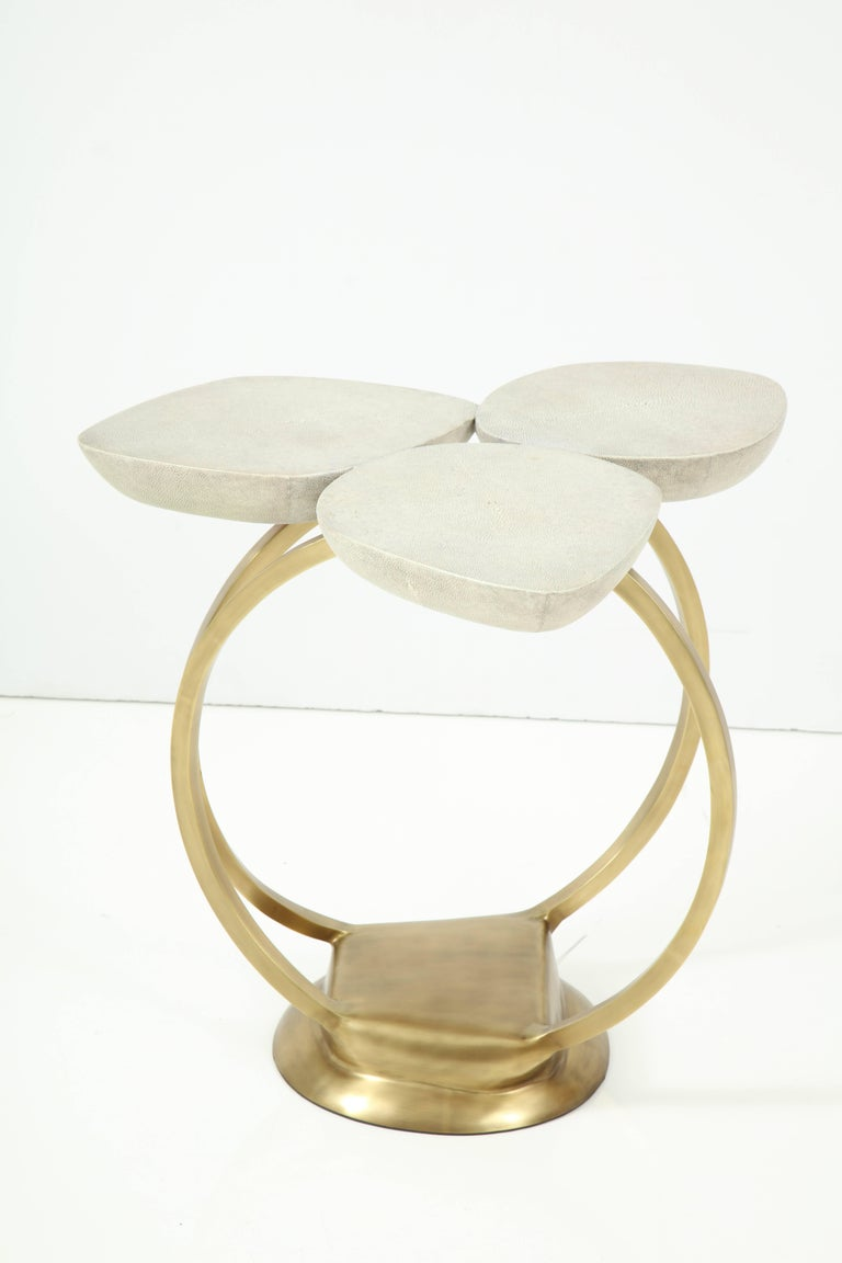 Modern Shagreen Side Table with Brass Base, Cream, Floral Design For Sale