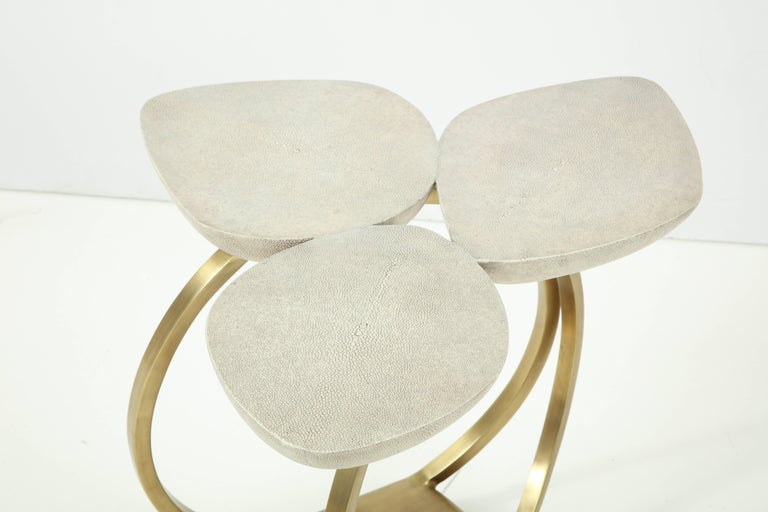 Philippine Shagreen Side Table with Brass Base, Cream, Floral Design For Sale
