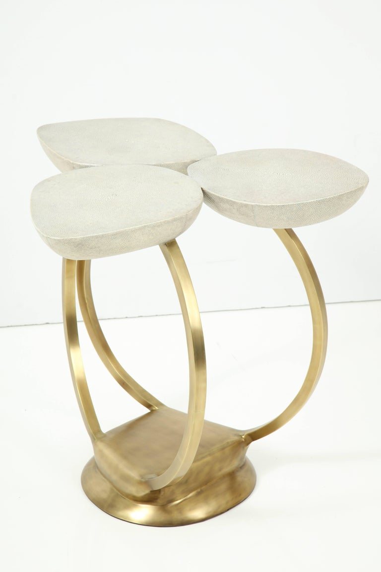 Hand-Crafted Shagreen Side Table with Brass Base, Cream, Floral Design For Sale