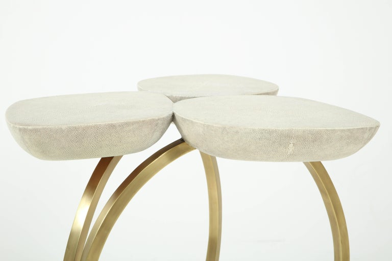 Contemporary Shagreen Side Table with Brass Base, Cream, Floral Design For Sale