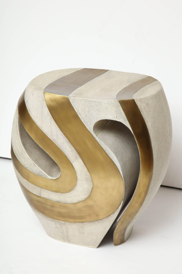 Shagreen Stool with Brass Details, Cream Shagreen, Organic Shape, in Stock For Sale 2