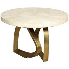 Shagreen and Brass Dining Room Table, Cream, Organic Design