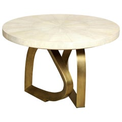 Shagreen and Brass Dining Room Table, Cream, Organic Shape, in Stock