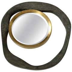Shagreen and Brass Mirror, Antique Black Shagreen, Organic Shape