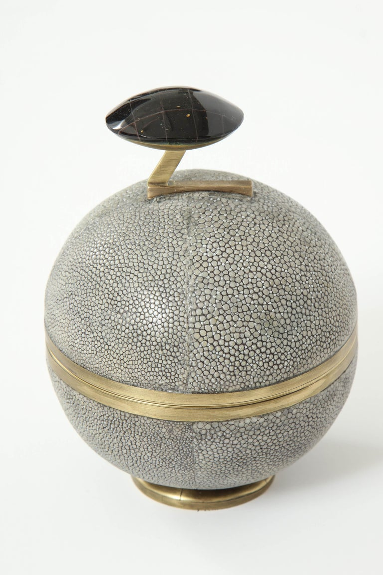 Decorative grey shagreen box with brass details and the knob is made of sea shell. Inside the box is a beautiful design with palm wood. Designed in France. We have this box in stock. It opens with a swirl.