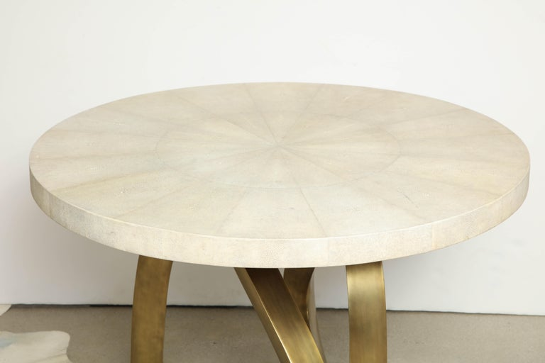 Art Deco Dining Room Table with Shagreen Top and Brass Base, Cream Shagreen, in Stock For Sale