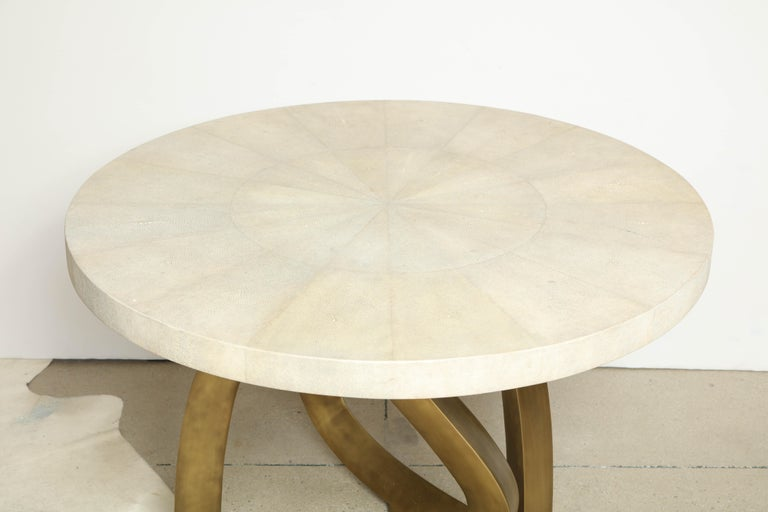 Hand-Crafted Dining Room Table with Shagreen Top and Brass Base, Cream Shagreen, in Stock For Sale