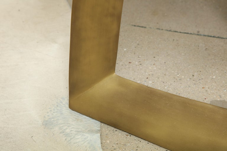 Dining Room Table with Shagreen Top and Brass Base, Cream Shagreen, in Stock In New Condition For Sale In New York, NY