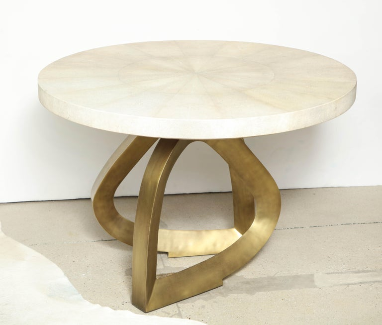 Contemporary Dining Room Table with Shagreen Top and Brass Base, Cream Shagreen, in Stock For Sale