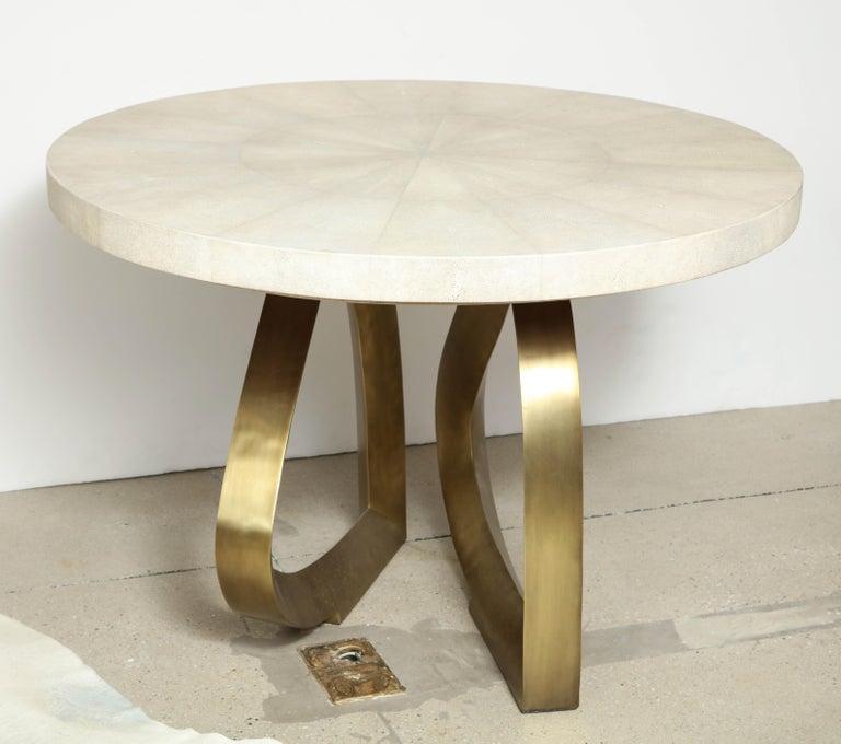 Dining Room Table with Shagreen Top and Brass Base, Cream Shagreen, in Stock For Sale 1
