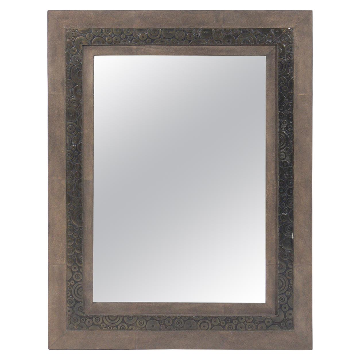Shagreen and Bronze Mirror by R & Y Augousti
