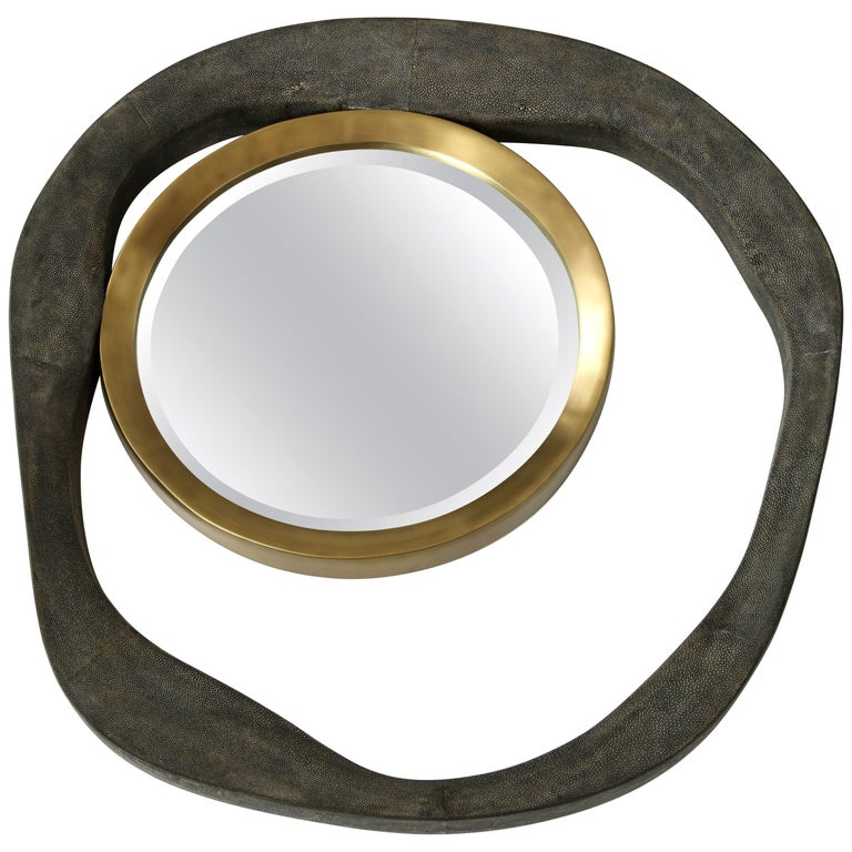 Shagreen and Bronze Mirror For Sale