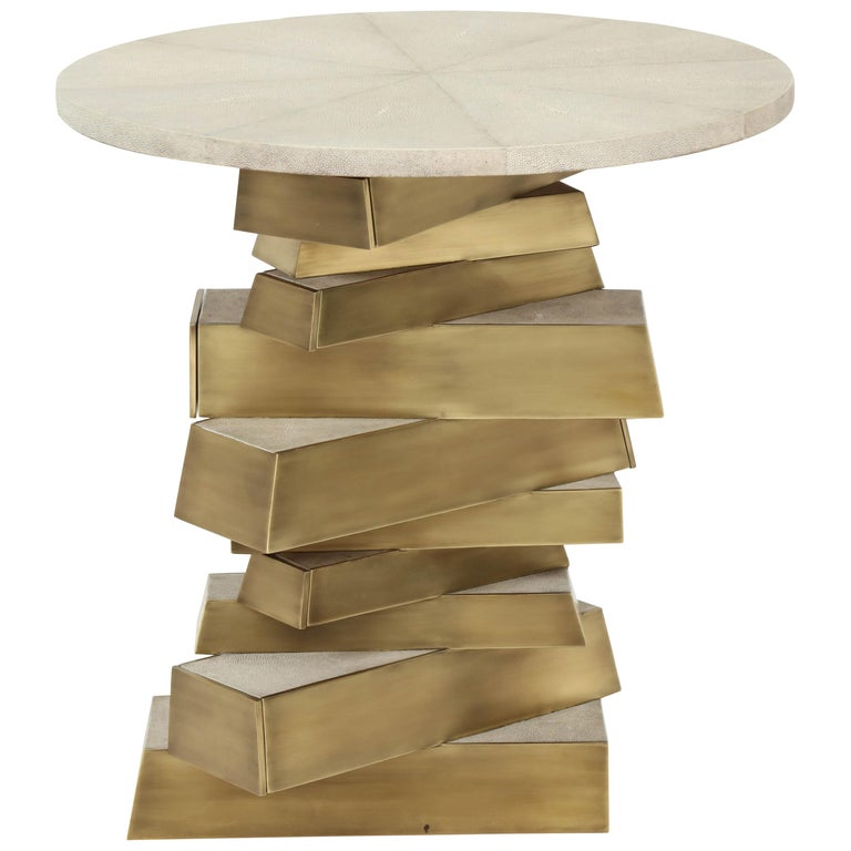 Shagreen and Bronze Side Table, Cream Color For Sale