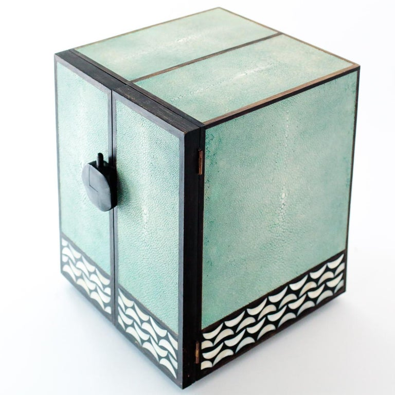 Art Deco Shagreen and Mother of Pearl Jewelry Chest or Box by R&Y Augousti For Sale