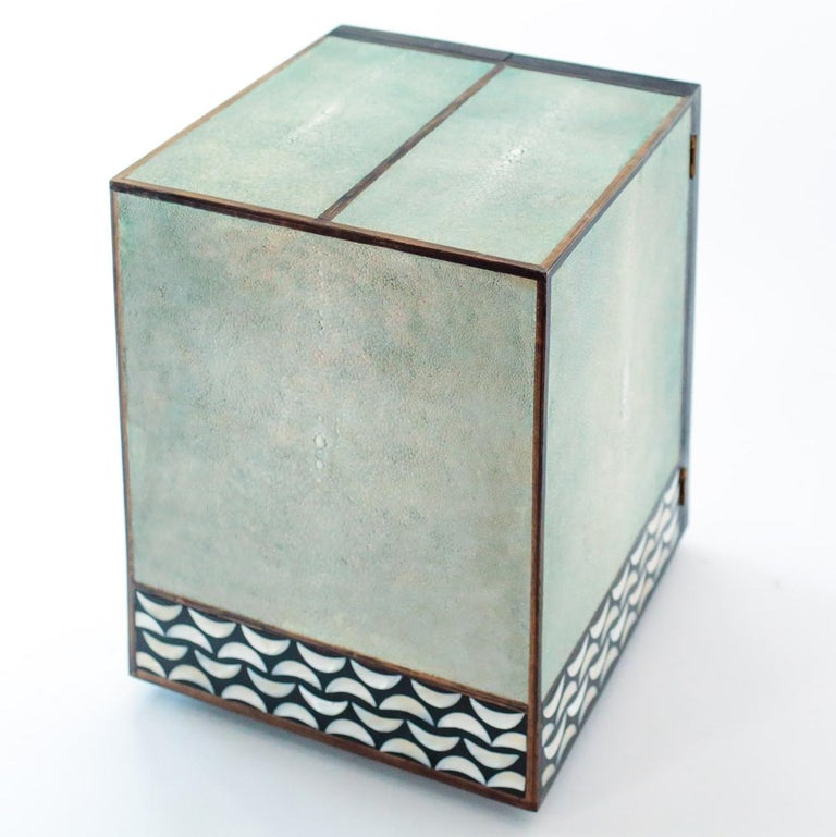 English Shagreen and Mother of Pearl Jewelry Chest or Box by R&Y Augousti For Sale