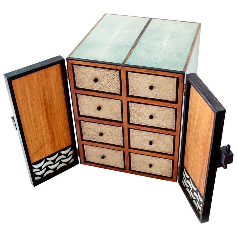 Shagreen and Mother of Pearl Jewelry Chest or Box by R&Y Augousti For Sale