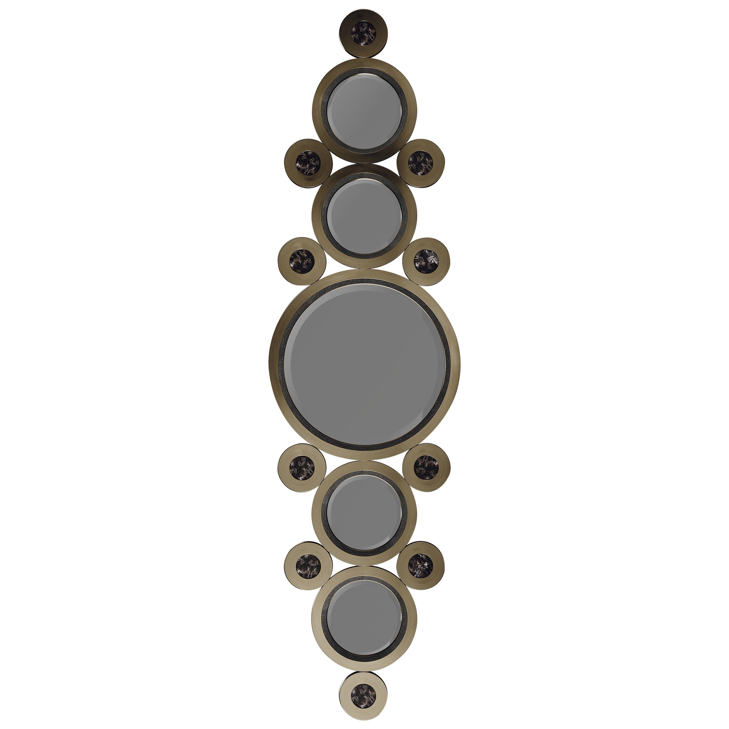 Shagreen and Quartz Mirror with a Bronze-Patina Brass Frame by R&Y Augousti