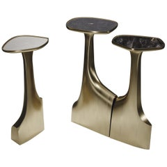 Shagreen and Quartz Triptych Side Tables with Brass Accents by R&Y Augousti