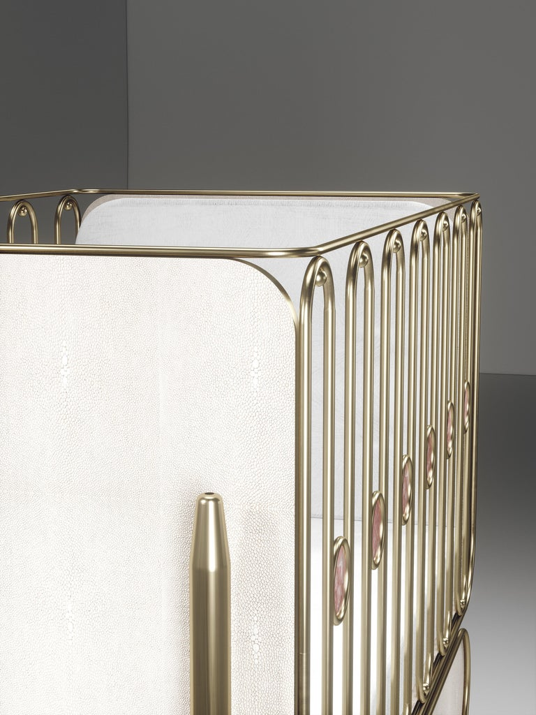 Shagreen Baby Crib with Brass Accents by Kifu Paris For Sale 3
