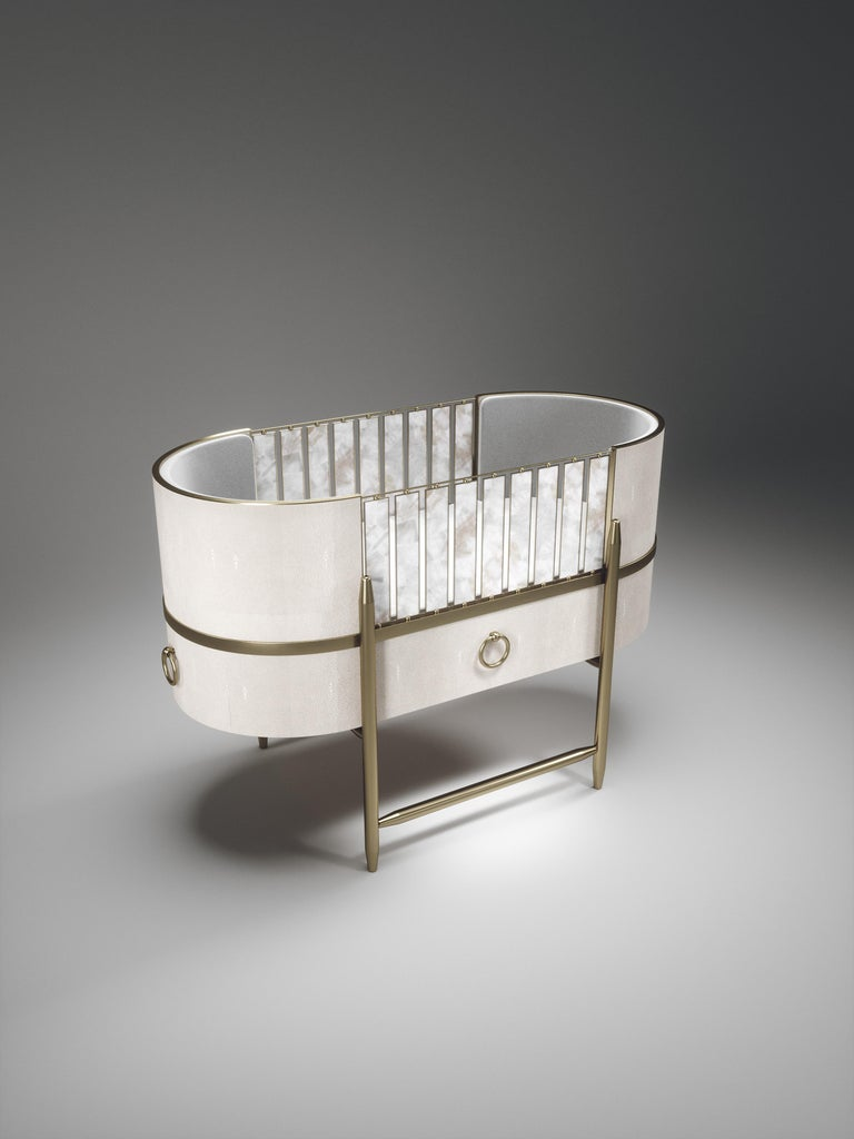 Shagreen Baby Crib with Brass Accents by Kifu Paris For Sale 9