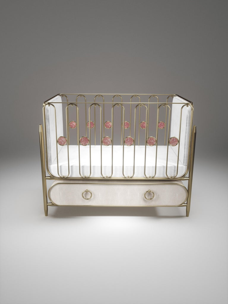 French Shagreen Baby Crib with Brass Accents by Kifu Paris For Sale