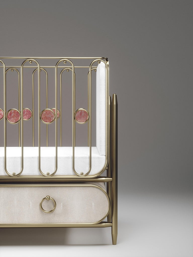 Shagreen Baby Crib with Brass Accents by Kifu Paris For Sale 1