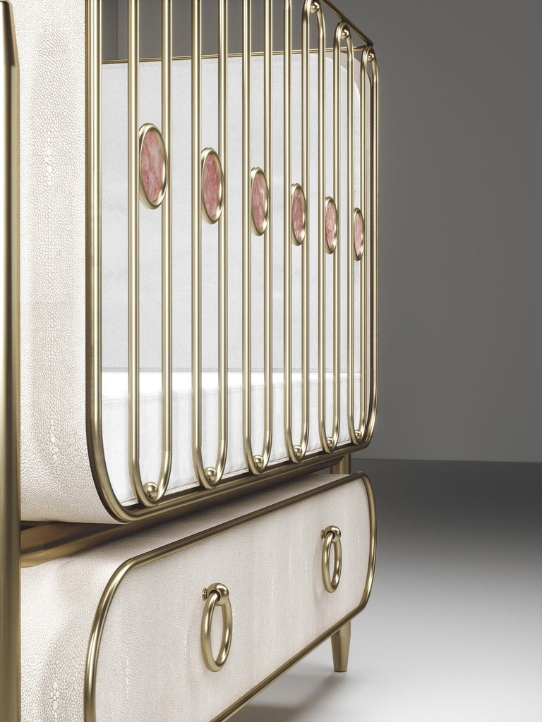Shagreen Baby Crib with Brass Accents by Kifu Paris For Sale 2