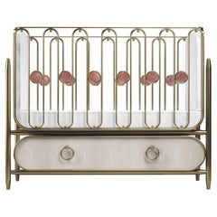 Shagreen Baby Crib with Brass Accents by Kifu Paris