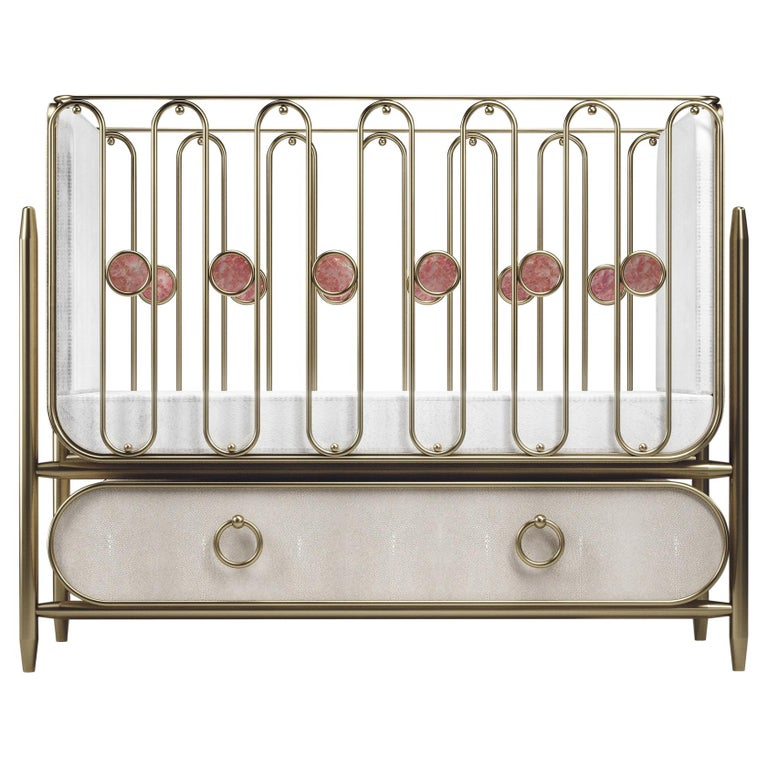 Shagreen Baby Crib with Brass Accents by Kifu Paris For Sale