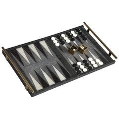 Shagreen Backgammon Game, in Stock, Contemporary, Designed in Paris