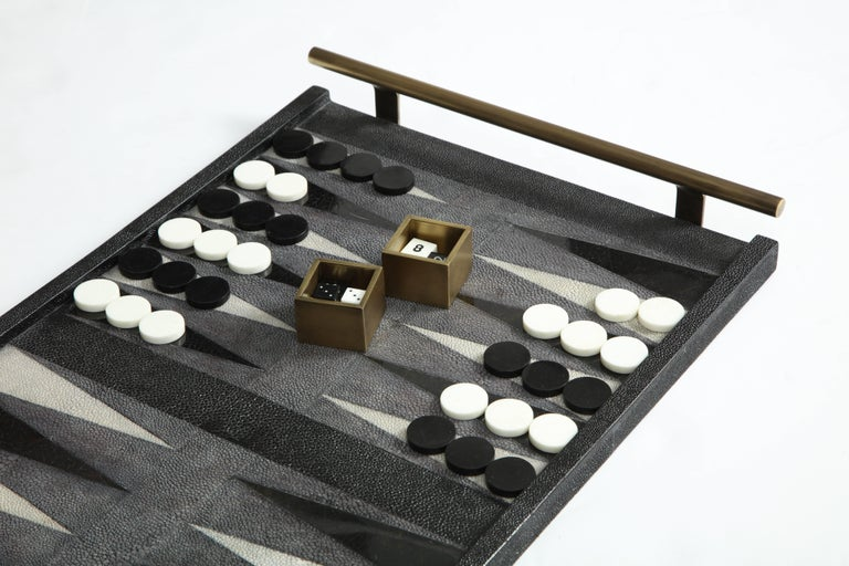 Hand-Crafted Shagreen Backgammon Game, Offered by Area ID For Sale