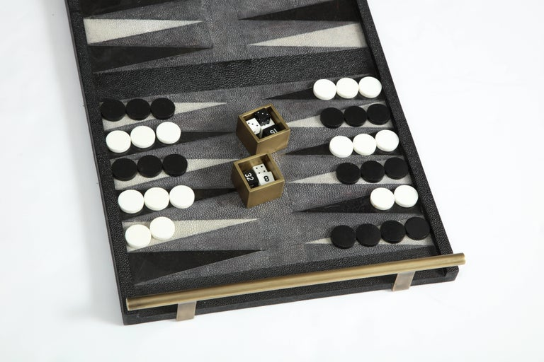 Shagreen Backgammon Game, Offered by Area ID In Excellent Condition For Sale In New York, NY
