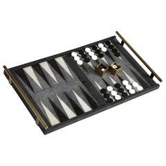 Shagreen Backgammon Game, Sea Shell & Shagreen, Contemporary Game, in Stock