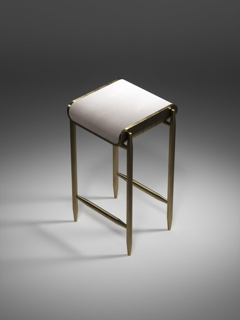 Shagreen Bar Stool with Bronze-Patina Brass Details by Kifu Paris For Sale 3